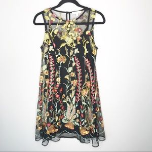 eri + ali Anthropologie Embroidered A-line Dress